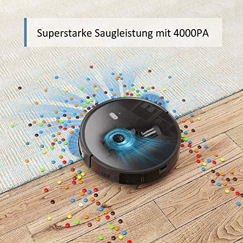 Saugroboter,Tesvor M1 mit 4000PA Powerleistung Roboterstaubsauger WLAN Staubsaugerroboter mit Raumkarte in Echtzeit Optimiert für Tierhaare Allergene Glatt Teppichböden mit APP Alexa/Google - 3