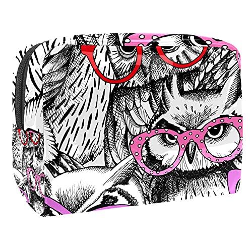 Estuche de Maquillaje Estuche de Aseo Estuche de cosméticos Organizador portátil de Alta Capacidad búhos con Gafas para Mujer niña