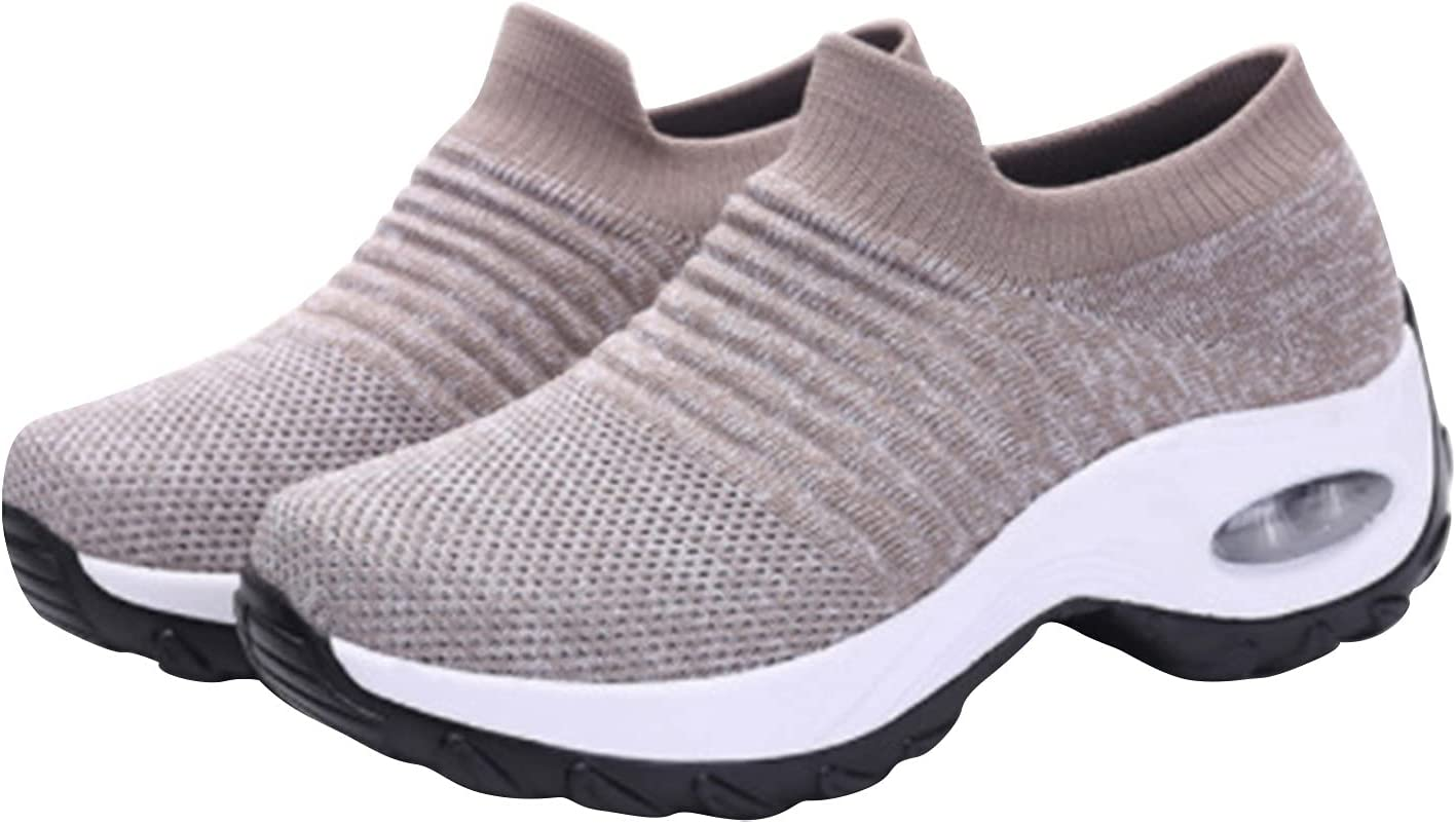 Women's Wedges Platform Sock Shoes Comfortable Light Breathable Walking Shoes Casual Large Size Slip-on Sneakers