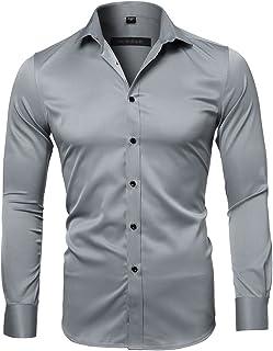Camisa Bambú Fibra Hombre, Manga Larga, Slim Fit, Camisa Elástica Formal Casual para Hombre