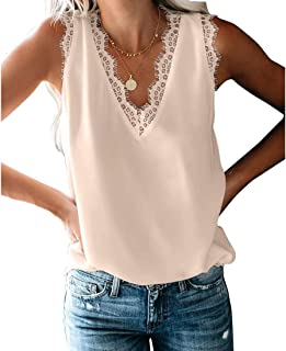 JNINTH Womens V Neck Vest Lace Trim Cami Tank Top Casual Loose Sleeveless Blouse Shirt
