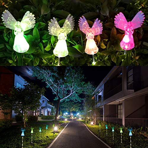 Solar Angel Lights Outdoor, Qualife Garden Gifts for Housewarming Mom Women,Solar Powered Decorative Light for Garden Yard Patio, Cemetery Grave Decorations, 2 Pack.