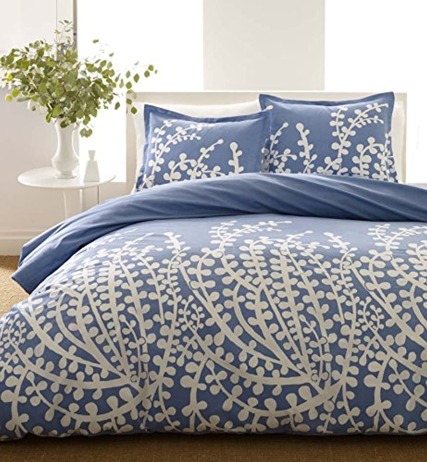 City Scene Branches French bluee Duvet Set F Q, Full Queen,