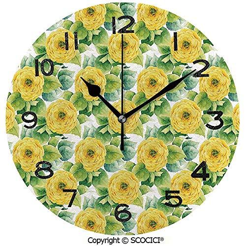 Mitta Yane Round Clock Runde Wanduhr Blühender Ranunkel Garten Bettwäsche Pflanzen Blätter Aquarell Kunstwerk 10 Zoll Morden Wanduhren Stille Runde Uhr