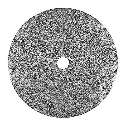 ROSELI Christmas Tree Skirt, 48 Inch Sequin Xmas Tree Mat For Wedding Party And Performance (Silver)