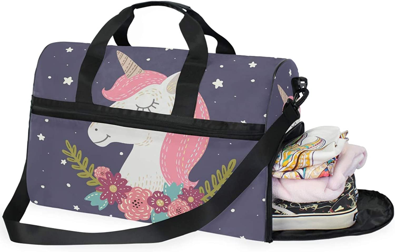 f1f76ef04f9a61 Unicorn Flower Sports Gym Bag with shoes Compartment Travel Duffel Bag for  Men and Women