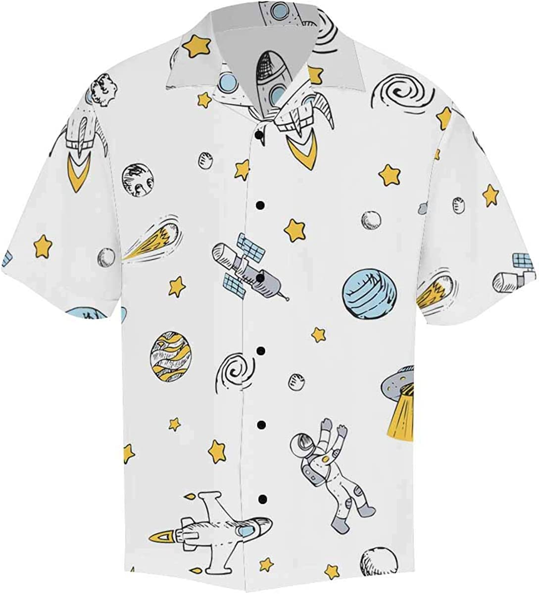 InterestPrint Men's Casual Button Down Short Sleeve Colorful Letter Hawaiian Shirt (S-5XL)