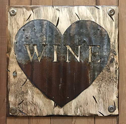 WINE Wall Sign with GALVANIZED METAL ~ Heart Shapped Reclaimed Metal Home Decor ~ Distressed Wood Kitchen Bar Winery ~ Cream Handmade *Hang next to a wine rack!