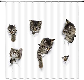 Lovely Cat In Wallpaper Hole Decor White Shower Curtain Fun Animals A Group Of Cute Kitten 3D Art Design Pet Picture,70x70...