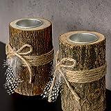 levandeo 2er Set Teelichthalter Holz je 12cm hoch Kerzenhalter Federn Kerzenständer Tischdeko - 4