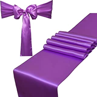 Combo Pack - 2 Satin Table Runners 12 x 108 inch & 10 Chair Sashes for Wedding Banquet Decoration, Bright Silk and Smooth Fabric Party Decor (Combo 2 Table Runner + 10 Chair Saches, Lavender)