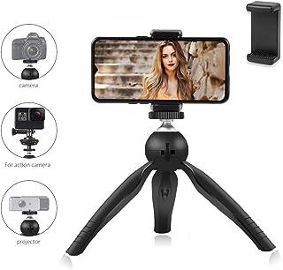 Trípode para Movil Mini Trípode Ligero para Transmisión en Vivo/ Grabar Video/Selfie/ Vlog/Fotografía Portátil Tripode 360° Rotación Ajustable para Cámara/Proyector