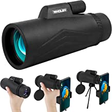 WHOLEV 12x50 Monocular Telescope for Smartphone, BAK4 Prism Waterproof Monocular with Zoom, Low Night Vision, Phone Adapte...