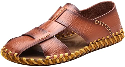 Sandales Pantoufles Confortables pour Hommes, Sandales, Cuir décontracté, été, Plage en Cuir, Plage, Chaussures de Plein air Sandales (Couleur   Marron, Taille   44 EU)