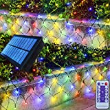 Homeleo Solar Net Lights for Christmas Decorations, Multicolored Remote Outdoor Mesh Fairy Lights for Patio Bushes Xmas Tree Wedding Party Garden Fence Decorations(180 LED, 10ft x 4.9ft)