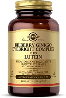 Solgar Bilberry Ginkgo Eyebright Complex Plus Lutein, 60 Vegetable Capsules Promotes Eye Health&Vision Support With Lutein...