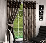 F2L Fresh From Loom Jute Contemporary Blackout Eyelet Polyester 4x7ft Curtains (Coffee)