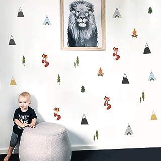 Runtoo Pegatinas de Pared Fox Árboles Montaña Stickers Adhesivos Vinilo Bosque Decorativas Salon Habitacion Bebe