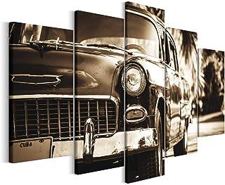 Revolio - Cuadro en Lienzo - impresión artística - 5 Partes - Decoracion de Pared - XXL - Tipo A - Tamaño: 250 x 120 cm - Cuba Coche Gris