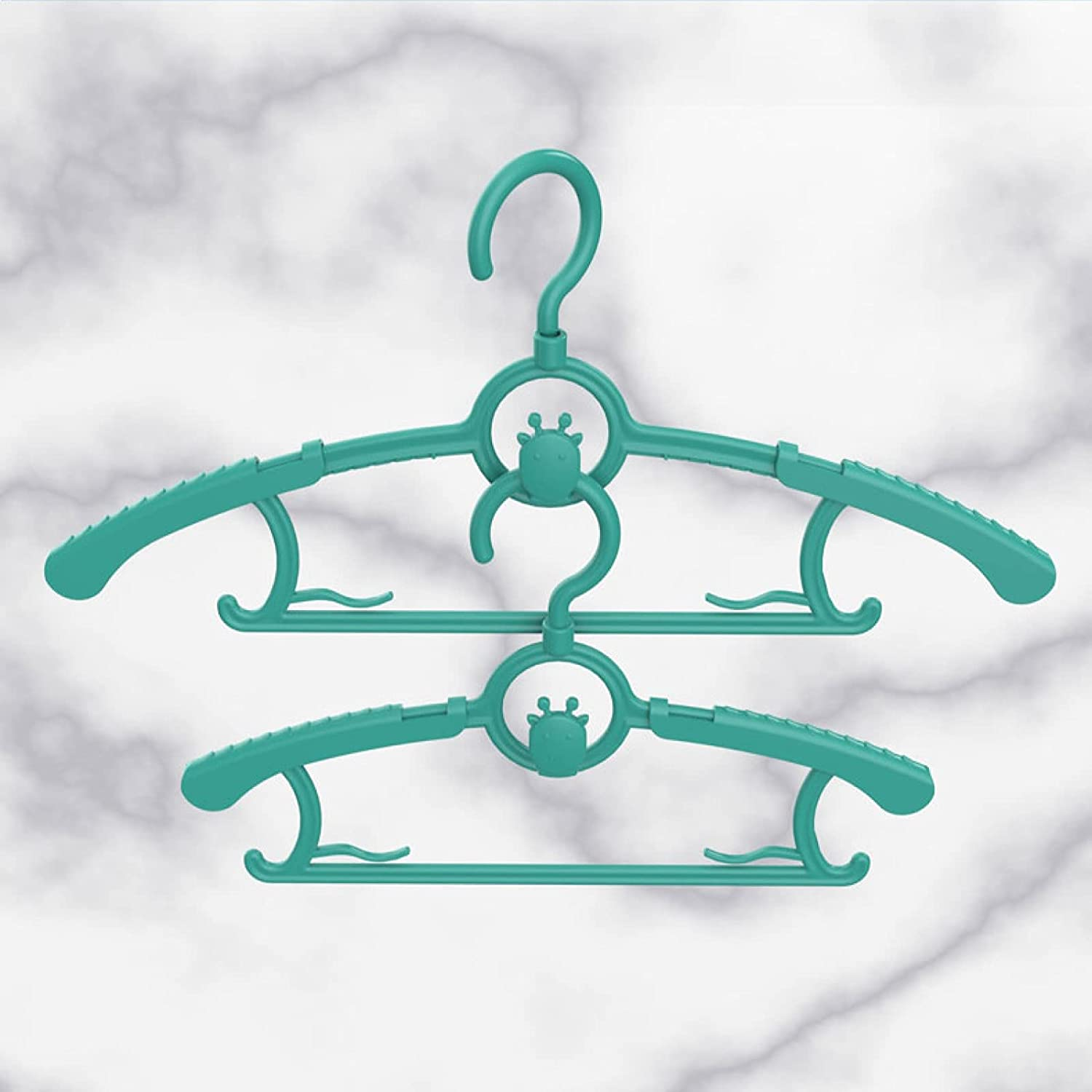 Adjustable Baby Hangers, Plastic Non-Slip Stackable Baby Hanger, Durable & Great as Newborn Kid Child Children Toddler or Infant Clothes Racks for Nursery Closet Wardrobe Pack of 10 (Green)