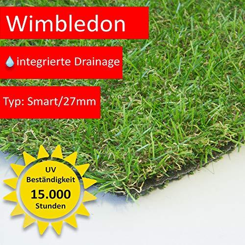 Steffensmeier Kunstrasen Rasenteppich Wimbledon Meterware | wasserdurchlässig für Balkon, Terrasse, Garten | UV-Garantie in Grün, Größe: 100x100 cm
