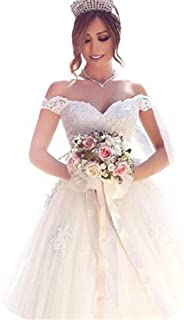 Yuxin Elegant Sweetheart Lace Ball Gown Wedding Dresses 2018 Off Shoulder Princess Bridal Gowns