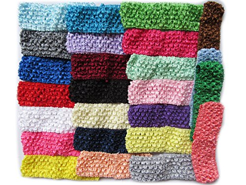 "YYCRAFT 50 Pcs Elastic Crochet Headbands for Newborn Infant Toddler Baby Girls Skinny Hair Bands Accessories(Width:1.75"")"