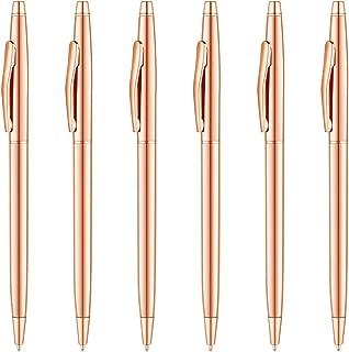 Unibene Slim Metallic Retractable Ballpoint Pens - Rose Gold, Nice Gift for Wedding Business Office Students Teachers Christmas, Medium Point(1 mm) 6 Pack-Black ink
