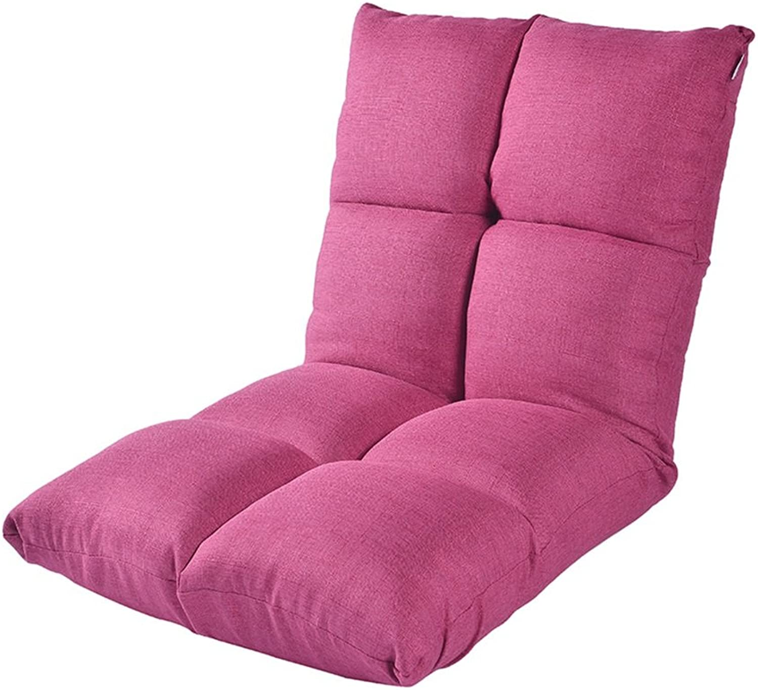 Lazy Sofa Tatami Single Small Sofa Japanese Folding Bed Chair Dormitory Balcony Lunch Break Recliner Chairs (color   Pink)