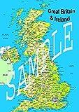 Póster de mapa político británico de Irlanda británica y nuevo planificador de ruta de los Atlas de la carretera de GB Islas, 91 x 60 cm