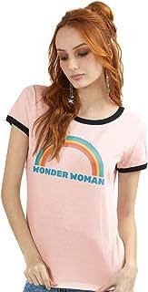 Camiseta Mulher Maravilha Rainbow Ringer