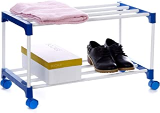 Dhani Creations 2 Layer Plastic Joint Metal Iron Organiser Foldable Shoe Racks with Wheels for Home and Kitchen