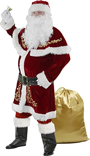 Halfjuly Men's Santa Costume Set Christmas 12pcs Deluxe Velvet Adult Santa Claus Suit