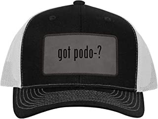 One Legging it Around got Podo-? - Leather Grey Patch Engraved Trucker Hat
