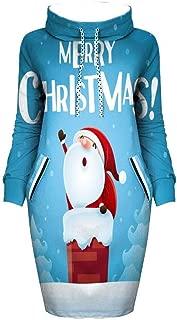 ZODOF ropa navideña mujer Moda Navidad Impresión Cuello alto ...