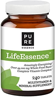 Pure Essence Labs LifeEssence Multivitamin for Women and Men - Natural Herbal Supplement with Vitamin D, D3, B12, Biotin - 240 Tablets