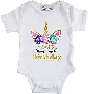 Kirei Sui Baby Gold Sparkle Birthday Unicorn Flower Bodysuit