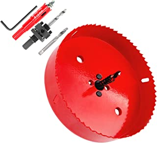 """Hole Saw Kit, GOH DODD 5 Pieces Heavy Duty Steel Design 4.25"""" and 0.7"""" (110mm 18mm) Set Power Drill Hole Cutter with Mandr..."""