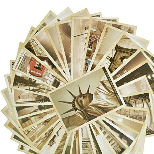 Rbenxia 32 Stück Vintage Retro Alte Reisepostkarten, ein Set, malerische Orte, Sammler-Postkarten/Grußkarten