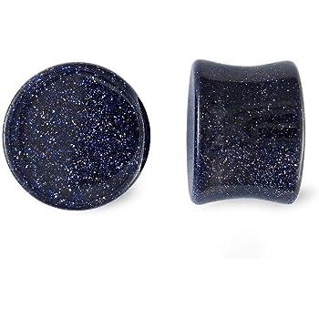 Scrap Metal 23 Pair Blue Goldstone Glass Plugs 00g 00 Gauge 10mm