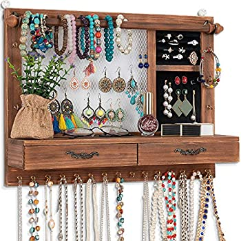 Dhmkfly Jewelry Wall Organizer Wall Mounted Jewelry Organizer Jewelry Hanger Display Rack Earring with Drawers for Earring Stud Ring Necklace Bracelets Accessories Bangles Holder Girls Gift  brown