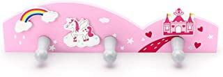 Mousehouse Gifts - Perchero de pared infantil con 3 ganchos - Temática unicornio