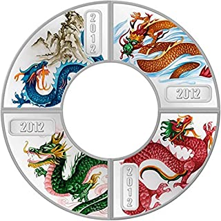2012 Cook Islands - Year of the Dragon - Fan-Shaped - 4 x $1 - Silver Coin Set - $1 Uncirculated
