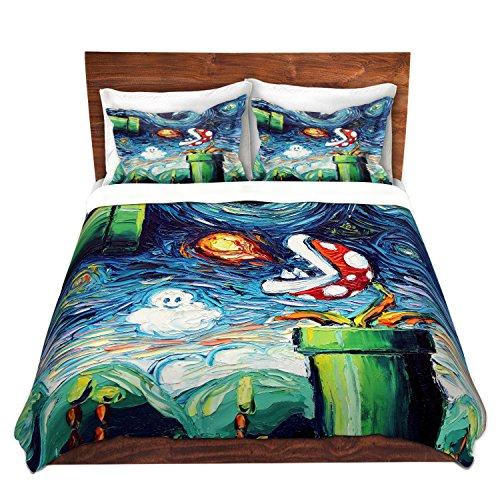 Duvet Cover Brushed Twill Twin, Queen, King Sets DiaNoche Designs Aja Ann - Van Gogh Never Leveled Up