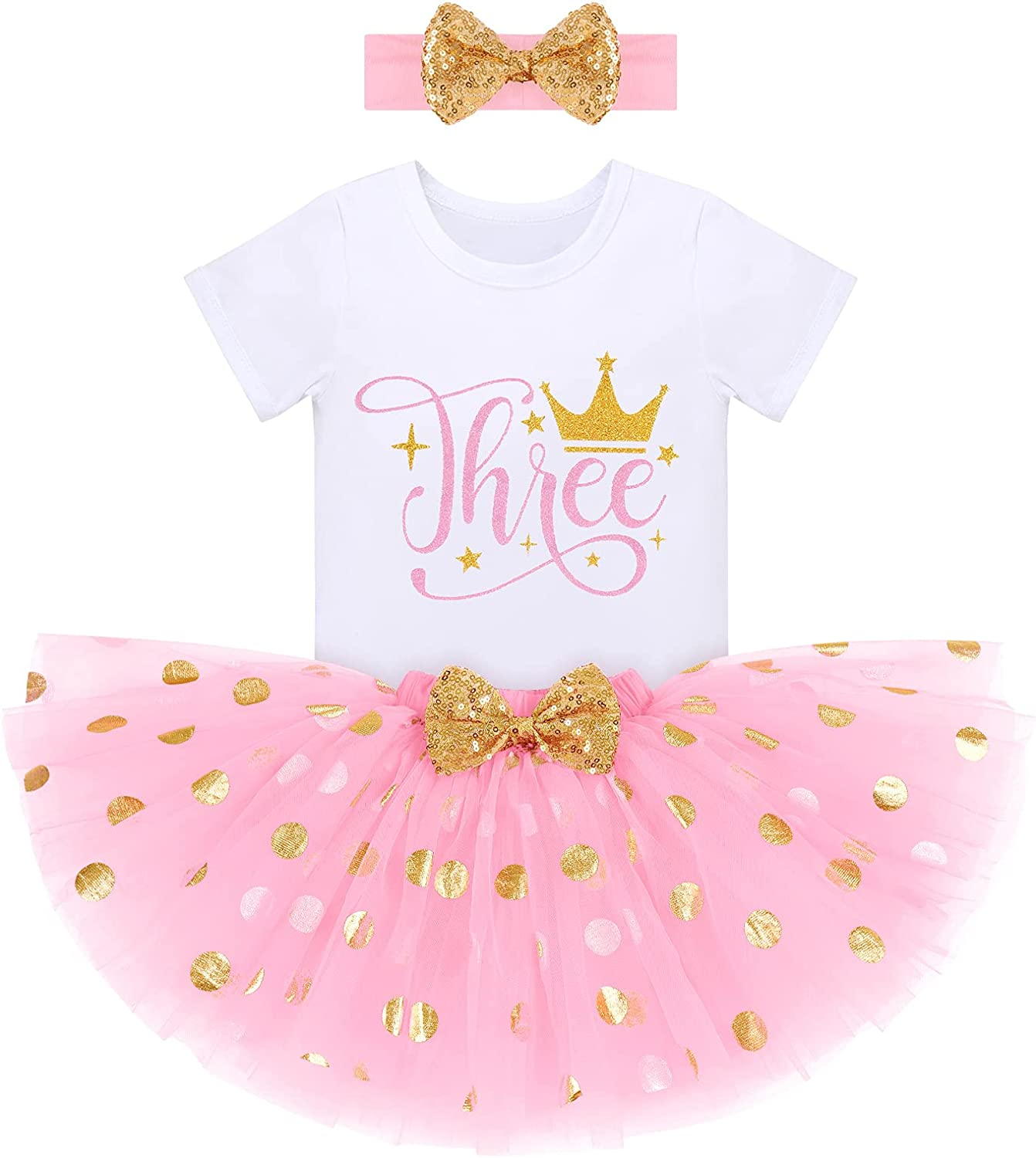 Baby Girls 1st/2nd/3rd Birthday Cake Smash Wild One Party Clothes Set for Kids Princess Crown Romper Gold Polka Dots Dress