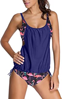 Womens Stripes Lined Up Double Up Tankini Top Sets Swimwear