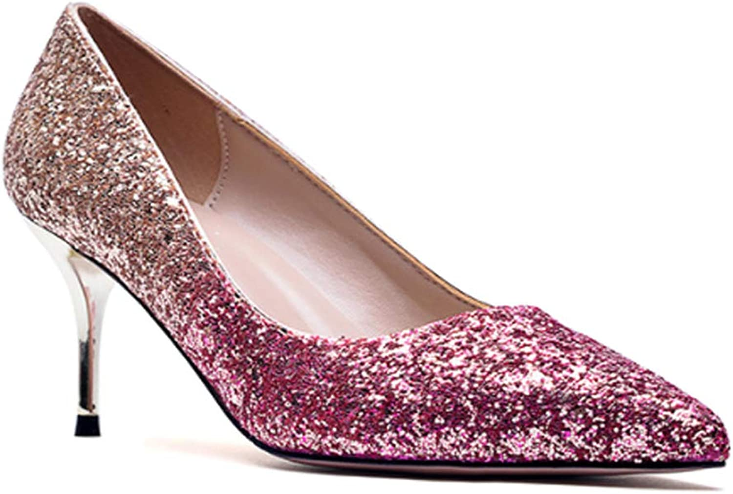 Yudesun Womens Closed Toe High Heels - Ladies Party Prom Evening Super Sparkly Glittery Pointed Crystal Stiletto Heel Court shoes