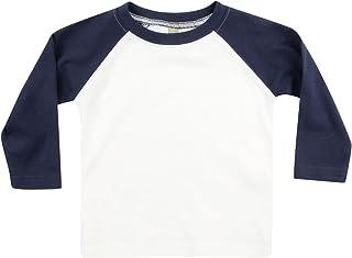 Larkwood- Camiseta de manga larga estilo béisbol para bebé (6-12 meses) (Blanco/Azul Marino)