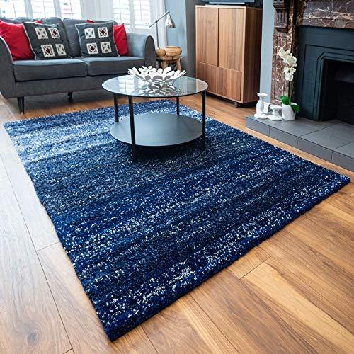 The Rug House Tapis de Salon Chambre Véranda Bleu Marine Epaisseur 3 cm Rayures Denim Moucheté Moelleux 80cm x 150cm