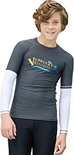 Labelar Big Boys Long Sleeve Rash Guard Sun Protective Swim Shirt(6-14 Years)
